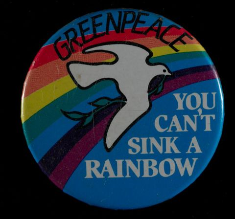 Badge, 'Greenpeace', circa 1985, New Zealand, by Greenpeace. Gift of Ken Thomas, 2008. Te Papa (GH011822)