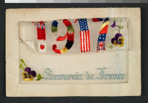CA000316/001/0014; World War One ephemera collection - sewn souvenir from France; 1917 ; detail 2 (image/tiff)