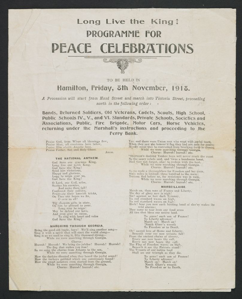 Programme for peace celebrations Hamilton, New Zealand - Museum of New Zealand Te Papa Tongarewa