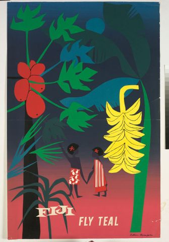 GH009293; Poster, 'Fiji Fly Teal'; 1950s; Thompson, Arthur (image/tiff)