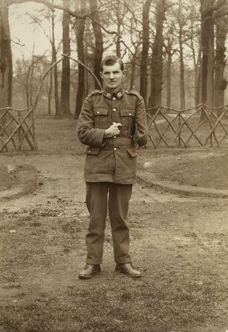 WWI soldier Allan McMillan in the grounds of Oatlands Park, Surrey, England