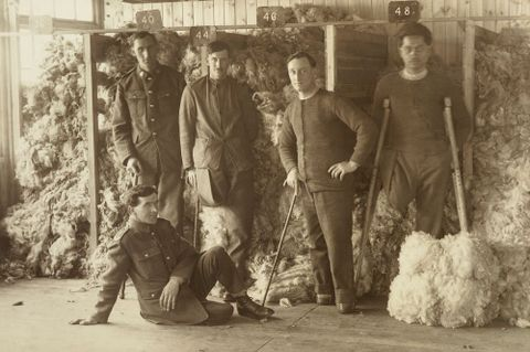 Five unidentified WWI soldiers posing in front of piles of sheep fleeces at Oatlands Park, Surrey, England