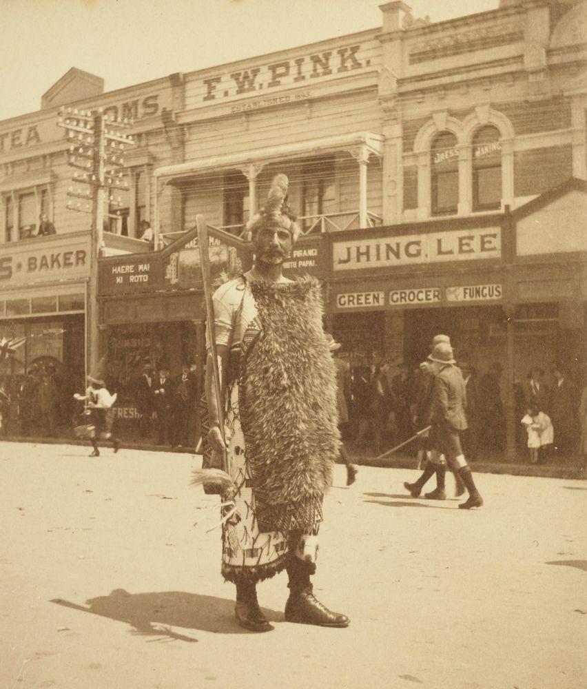 """The leader of the procession (Mr. Riri Nicholson)"": 'Armistice Celebrations in Levin, Nov. 13. 1918'. From the album: Family photograph album; 1917 - 1920; Adkin, Leslie - Museum of New Zealand Te Papa Tongarewa"