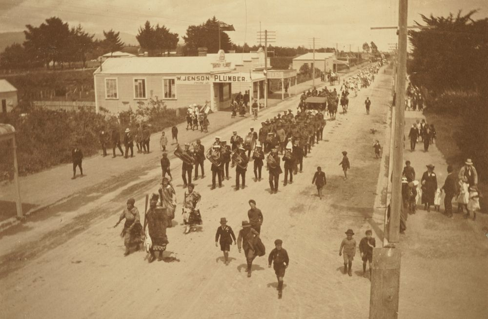 """""""The procession [1]"""": 'Armistice Celebrations in Levin, Nov. 13. 1918'. From the album: Family photograph album; 1917 - 1920; Adkin, Leslie - Museum of New Zealand Te Papa Tongarewa"""
