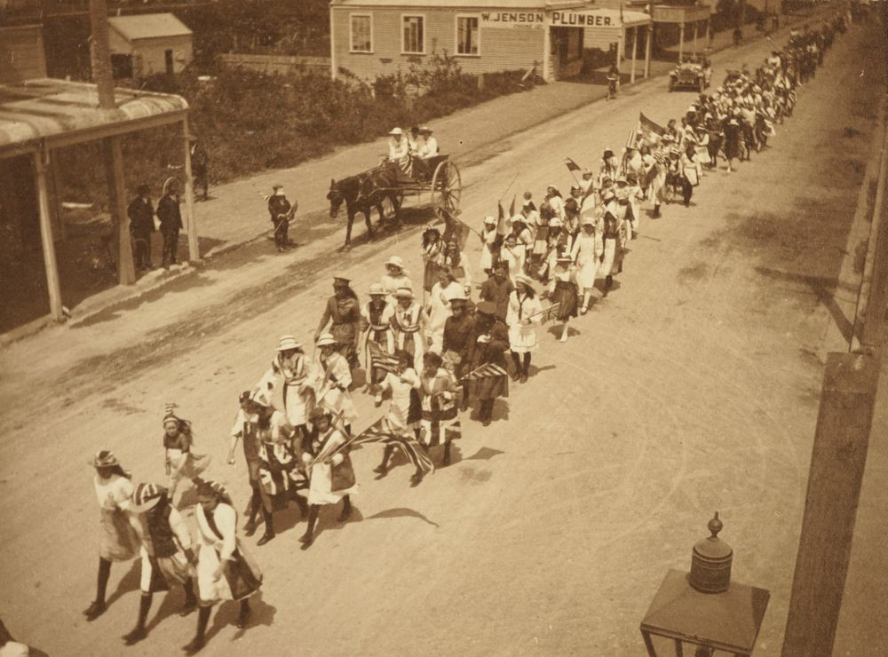 """""""The procession [2]"""": 'Armistice Celebrations in Levin, Nov. 13. 1918'. From the album: Family photograph album; 1917 - 1920; Adkin, Leslie - Museum of New Zealand Te Papa Tongarewa"""