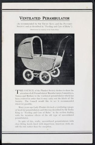 Old leaflet advertising a ventilated perambulator