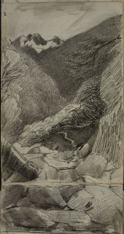 Petrus van der Velden (1837-1913), Otira Gorge, pencil on paper, Gift of W. Fergusson Hogg, 1967 (1967-0017-6/14-15)