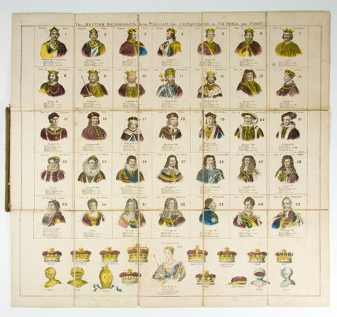 Game, 'Peter Parley's Victoria Game of British Sovereigns', 1837-1899, England. Maker unknown. Acquisition history unknown. Te Papa