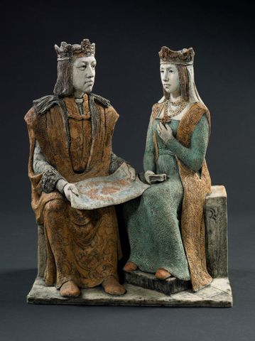 Columbus's sponsors, Queen Isabella and King Ferdinand. From series one: Columbus plans his first voyage, sailing against the wind