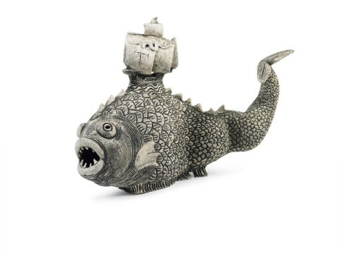 Monster fish with ship fin. From the group: Terrors of the sea. From series two: The trials and tribulations of the first voyage