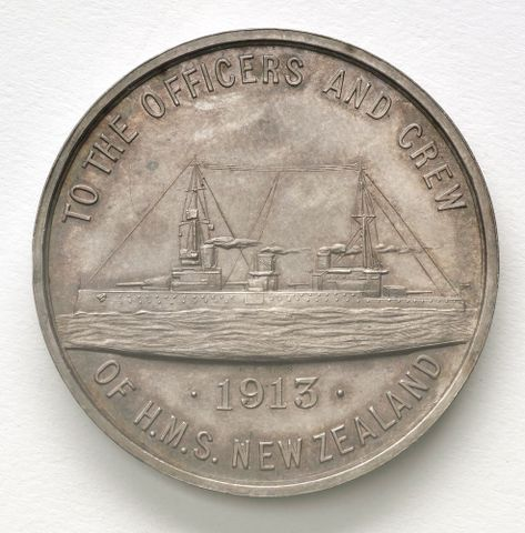 Medal commemorating the visit of H.M.S. New Zealand, 1913.