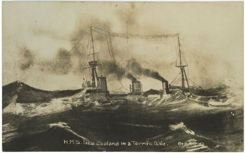 PS.002895; H.M.S. New Zealand in a terrific gale; Unknown (image/tiff)