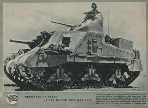 GH016170; Poster, 'Thousands of Tanks in the Middle East War Zone'; Early 1940s; Unknown ; without frame (image/jpeg)
