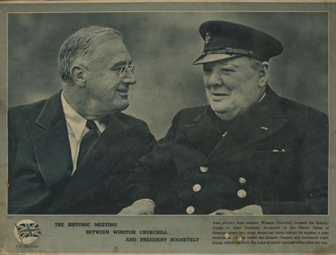 GH016181; Poster, 'The Historic Meeting Between Winston Churchill And President Roosevelt'; 1941; Unknown ; without frame (image/jpeg)