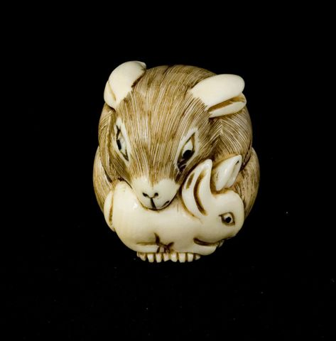 Netsuke, date unknown, by unknown maker, Japan. Ivory, pigment, stain. FE009899; Te Papa