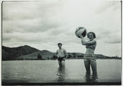 O.006419/02; Michael Lee-Johnson and friend in coastal waters; 1950 s; Lee-Johnson, Eric (image/tiff)