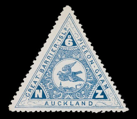 PH000071; Great Barrier Pigeongram Agency six penny stamp; 1899; Brett Printing and Publishing Company Ltd (image/tiff)