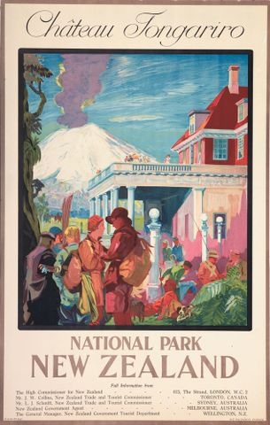 GH014052; Poster, 'Chateau Tongariro'; Circa 1932; New Zealand Railways. Publicity Branch. ; without frame; colour corrected (image/jpeg)