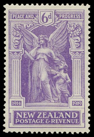 PH000080; Issued six penny  'Victory' stamp.; 1920; De La Rue & Co. (image/tiff)