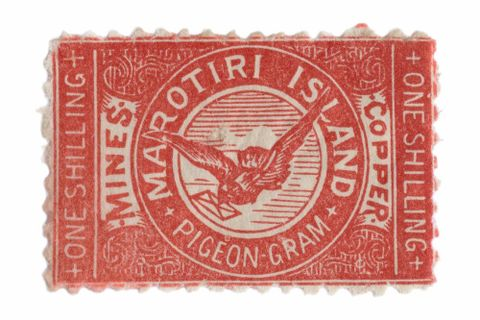 Great Barrier Island Pigeon Post stamp: Marotiti Island one shilling, first issue (image/tiff)