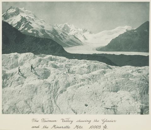 The Tasman Valley showing the Glacier and the Minarette Mts. 10,003 ft. From the album: Record Pictures of New Zealand