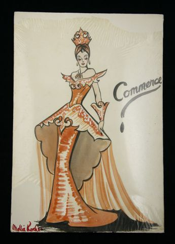 TMP007062; Costume design for Victory Queen Carnival: 'Commerce'; 1941; Rodie, Marion ; Recto (image/jpeg)