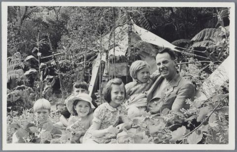 Lee-Johnson family at Piha, 1946-1948, North Island, by Eric Lee-Johnson. Purchased 1997 with New Zealand Lottery Grants Board funds. Te Papa (O.011091)