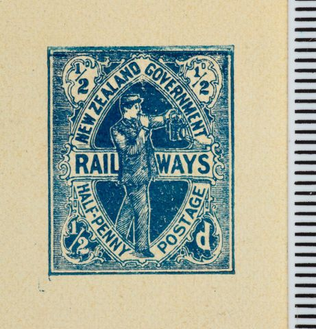 PH000006; Halfpenny die proof for the proposed Railways Department stamp issue; 1905; Hickson, W (image/tiff)