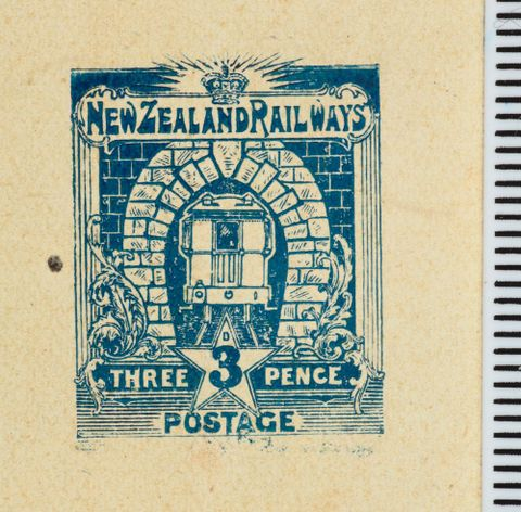 PH000007; Three penny die proof for the proposed Railways Department stamp issue; 1905; Hickson, W (image/tiff)