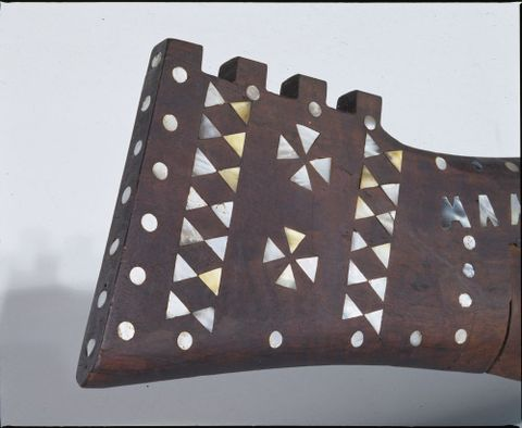 FE010421; Vaka (canoe) Tauhunu; circa 1900; Cook Islands; close-up detail view (image/tiff)