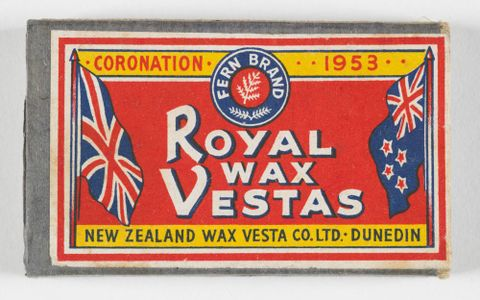 GH012578; Wax vesta box; 1953; New Zealand Wax Vesta Co. Ltd. (image/tiff)