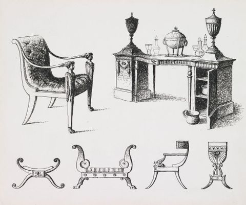 Drawing: Armchair c 1805, sideboard c 1760, stoll, settee, chair and worktable c 1800 (in the style of Thomas Hope)