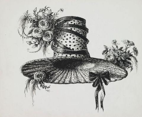 Drawing: Regency hat with ribbon and flower trimming
