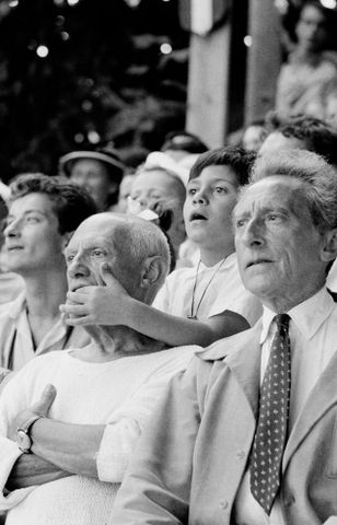 E.004028/24; Pablo Picasso, son Claude and Jean Cocteau at a bullfight, Vallauris, France; 1955; Spanish; Brake, Brian (image/tiff)