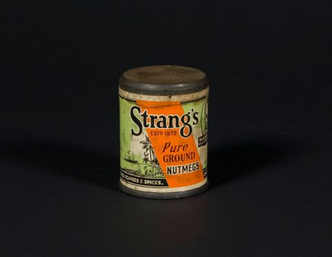 Ground Nutmegs, Mid 20th century, New Zealand, by David Strang Ltd, Coffee and Spice Merchants. Gift of Mrs Sheila Douglas Dunbar, 2009. Te Papa (GH012696)