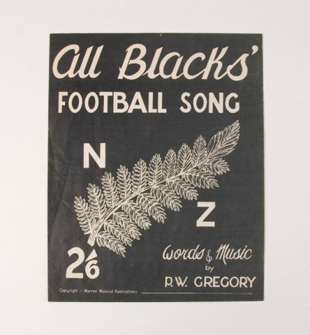 Sheet music, 'All Blacks' Football Song'