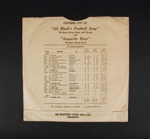 GH013504; Record, 'All Blacks' Football Song'; 1956; His Master's Voice (N.Z.) Ltd. (image/tiff)