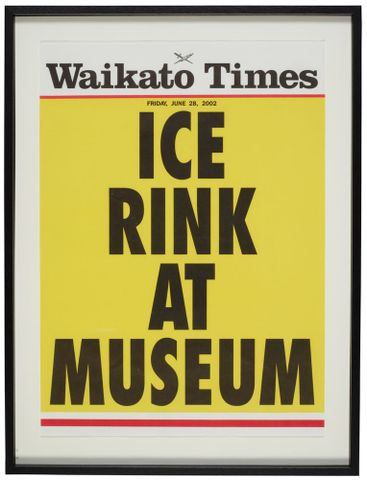 Ice rink at museum, June 28 2002  Advertising poster for Waikato Times newspaper, New Zealand