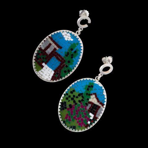 2010-0007-2/A-B to B-B; Ancestral Home & Garage (Pakuranga) [pair of earrings]; 2009; Cook, Octavia view 1 (image/tiff)