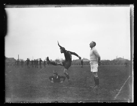 A.009936; Rugby player kicking for goal; circa 1922; Unknown (image/tiff)
