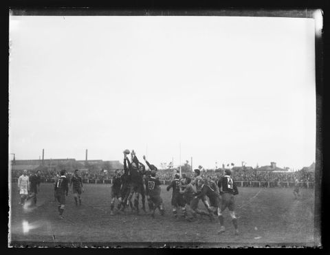 A.009937; Lineout formation - scene from rugby union match in Southland; circa 1922; Unknown (image/tiff)