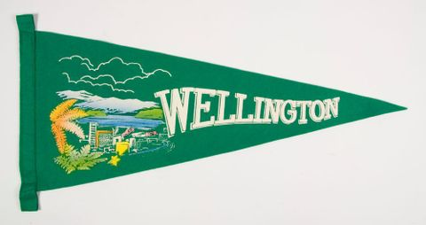 GH020756; Souvenir pennant, 'Wellington'; 1970s-1980s; Unknown (image/tiff)