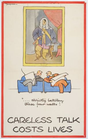Poster, 'Careless talk...strictly between these four walls!'