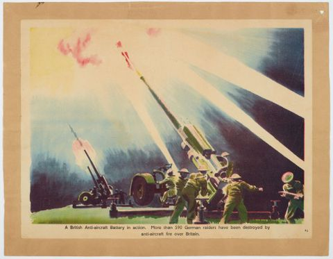 Poster, 'A British Anti-aircraft Battery in action'