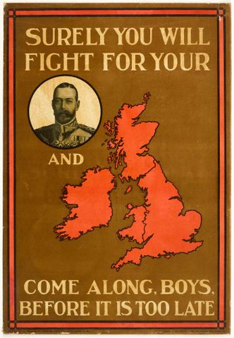 Poster, 'Surely you will fight', 1915, United Kingdom, by Parliamentary Recruiting Committee, Jas. Truscott & Son Ltd.. Gift of Department of Defence, 1919. Te Papa (GH016384)