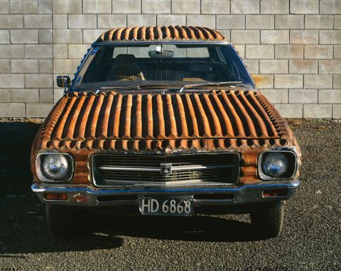 Corrugated iron Holden station wagon by Jeff Thomson