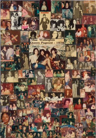 Photo of large collaged panel, circa 1975-2002