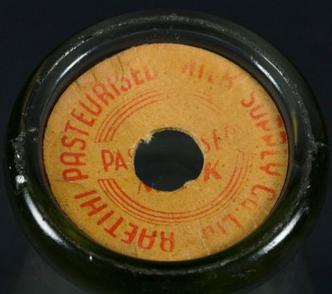 GH020982; Milk bottle; 1950s; Raetihi Pasteurised Milk Supply Co Ltd (image/tiff)