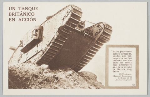 'A British tank in action', circa 1916-1918, Te Papa Archives, CA000316/001/0005/0005. Te Papa