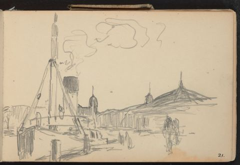 Petrus van der Velden (1837-1913), Harbour scene with city behind, c. 1907-8, pencil on paper, Gift of W. Fergusson Hogg, 1967 (1967-0017-5/21-31)